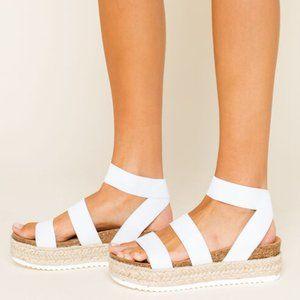 New Steve Madden Bandi White Platform Sandals US 9